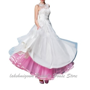 Image 2 - Lakshmigown uma linha tule underskirt feminino sem aros 100cm até o chão vestido de casamento saias acessórios de noiva 2019