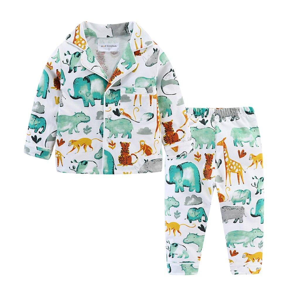 Mudkingdom Boys Girls Pajamas Set Callared Long Sleeve Cute Cartoon Autumn Toddler Pajama Kids Sleepwear Print Children Clothes 2