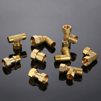 Copper Thickened L-Type Union Joint 1/2 3/4 Female Male Thread Straight-Through Three-Way Water Pipe Gas Pipe Joint Fittings s121 size 1 4 pipe joint t shaped three way fittings water purifier accessories