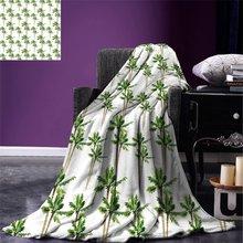 Пальмовое одеяло в акварельном стиле с рисунком леса из кокосовых деревьев, экологическое одеяло для кровати, зеленого какао
