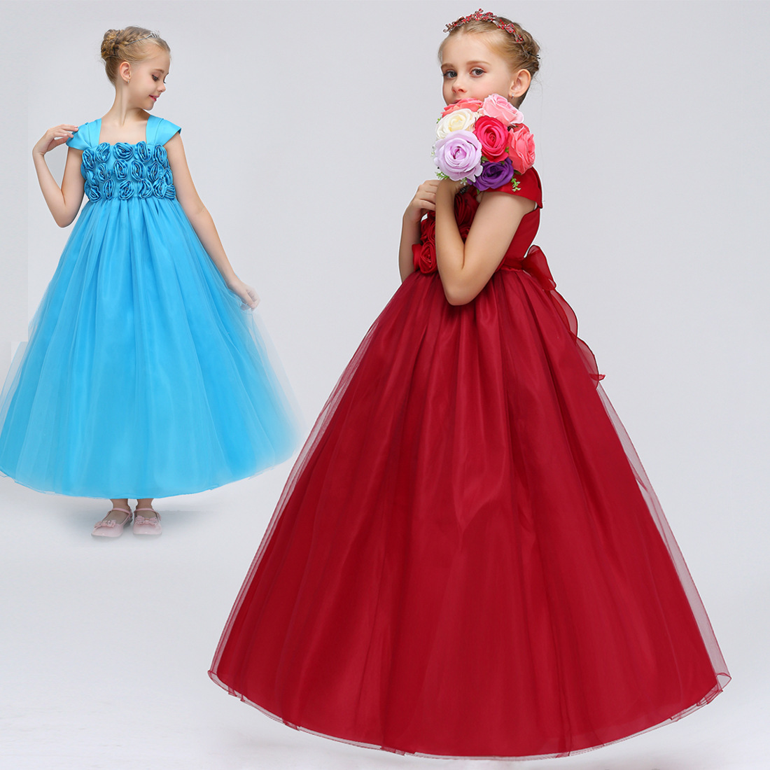 Amazon Children Camisole Tube Top A- Line Skirt Gauze Long Dress Stickers Flower High-waisted Formal Dress Piano Costume
