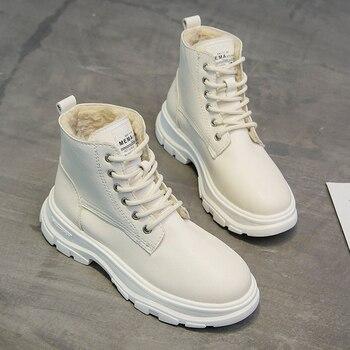 Botas blancas de Invierno para mujer, botines de plataforma a la moda con cordones, botas de combate, zapatos de nieve para mujer, botas de felpa cálidas 2019 nuevas para invierno