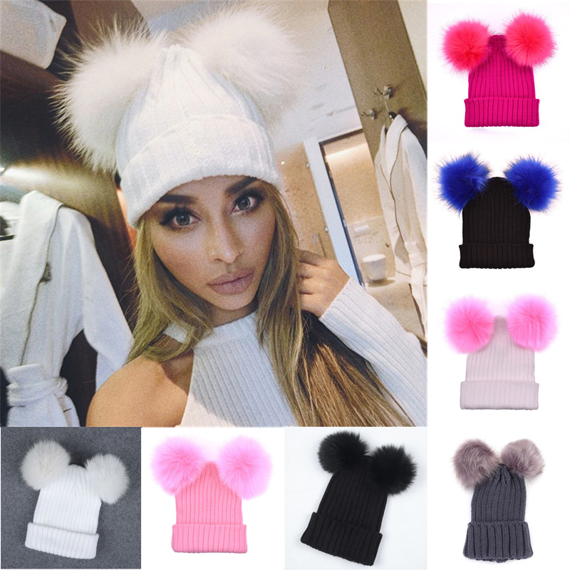 Fur Ball Cap 2 Pom Poms Winter Hat For Women Girl 's Wool Hat Knitted Cotton Beanies Cap Brand New Thick Female Cap