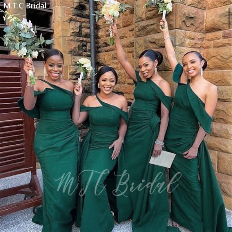 New Design Green Mermaid African Bridesmaid Dresses Plus Size Black Girls Maid Of Honor Gowns Long Wedding Party Dress Wholesale