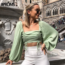 Aproms Vintage Square Neck Lantern Sleeve Blouse Shirt Women