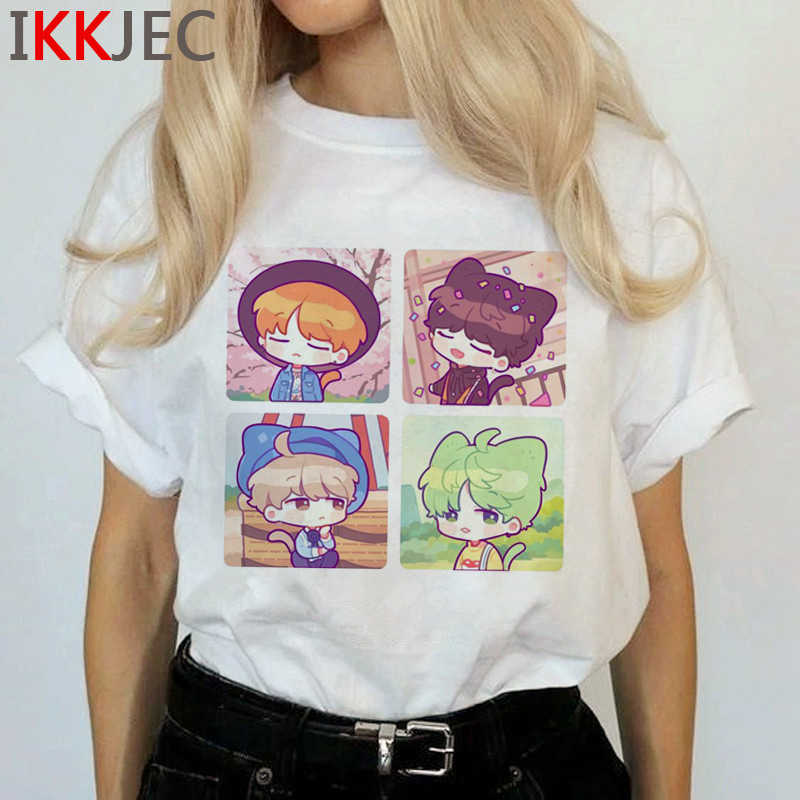 Bangtan Jongens Jimin V Harajuku T-shirt Vrouwen Nep Liefde Ullzang T-shirt Jungkook J-hoop Rm Suga Jin Tshirt cartoon Top Tees Vrouwelijke