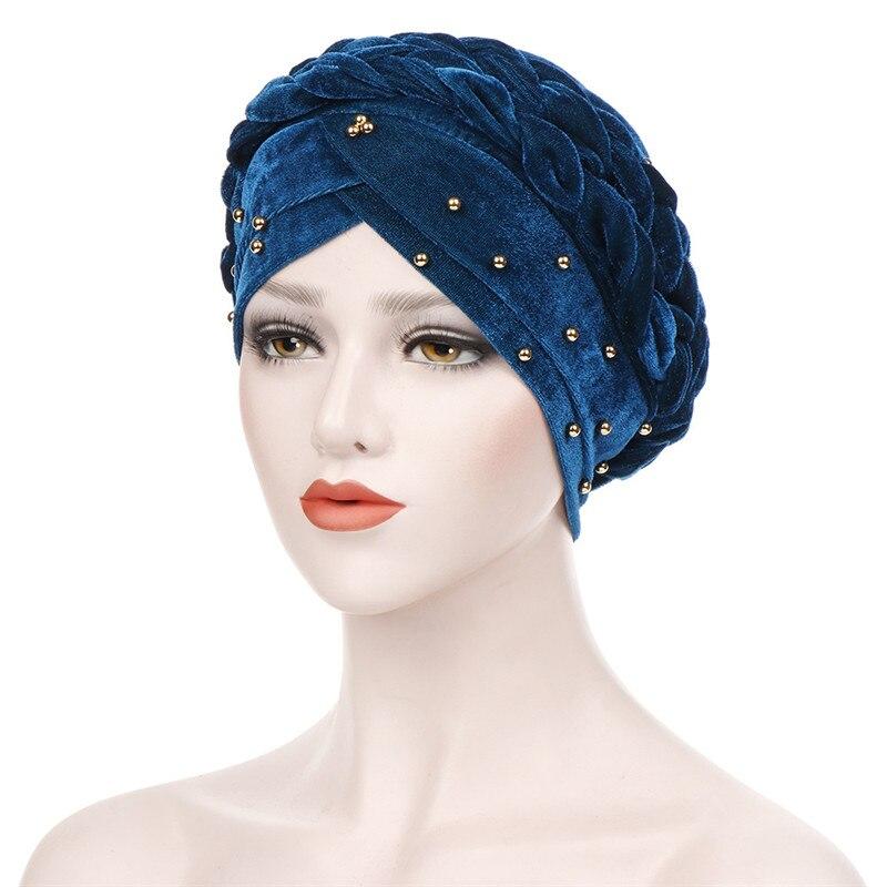 2020 New Fashion Forehead Cross Velvet Inner Hijab Caps Long Braid Muslim Headdress For Women Beading Turban Hijabs Bonnet