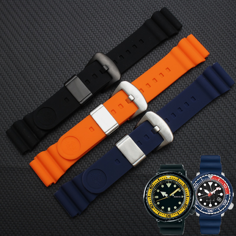18/20 / 22mm Diver Rubber Black Strap Soft Silicone Replacement Wrist Strap Bracelet With Spring Bars Tool Set For Seiko Watch