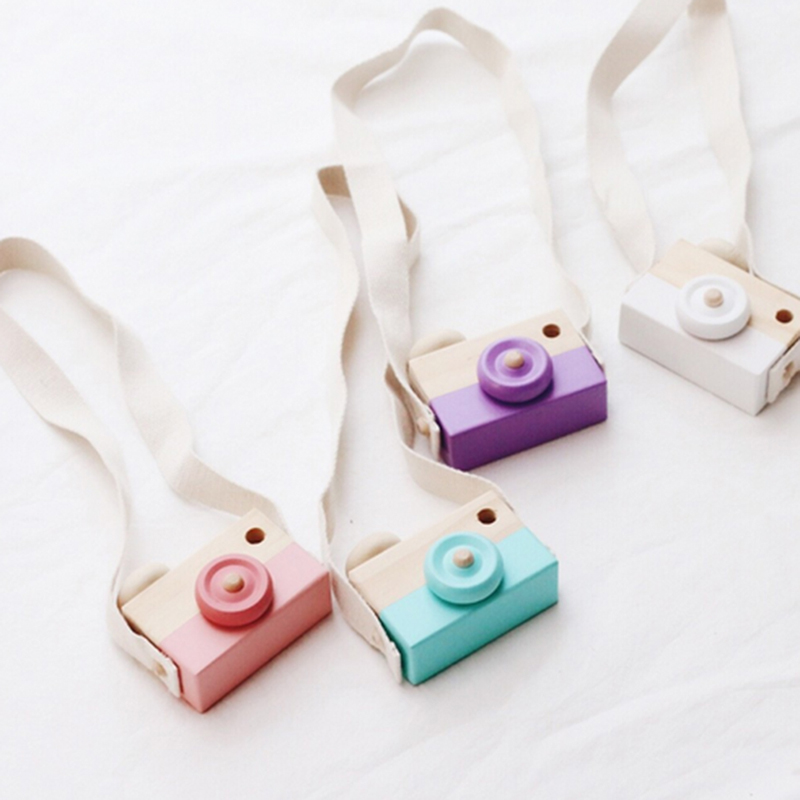 Cute Wooden Toy Camera Baby Kids Creative Neck Hanging Camera Photography Prop Decoration Children Playing House Decor Toy Gift