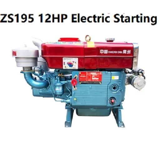 Expédition rapide ZS195 12HP moteur Diesel poignée démarrage électrique injection directe refroidie à leau