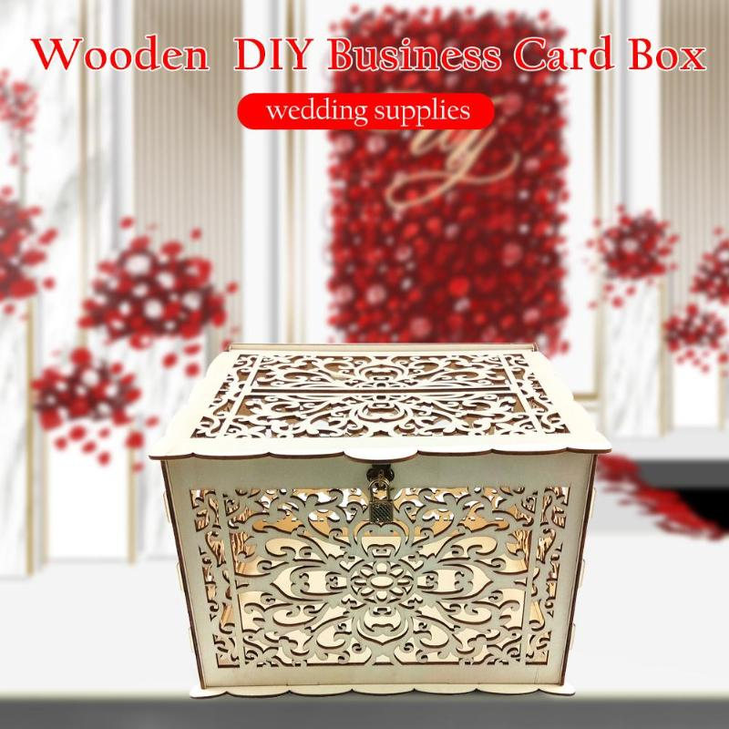 New DIY Wedding Gift Card Box Wooden Money Box With Lock Beautiful Wedding Decoration Supplies For Birthday Party Storage Money