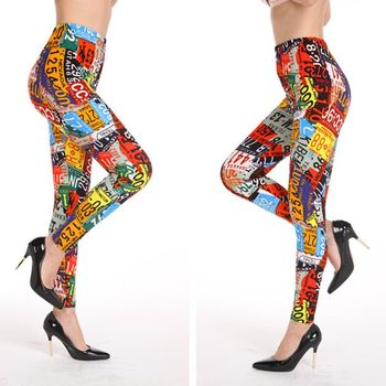 Women High Waist Skinny Leggings Contrast Color Arabic Number Print Tights Pants