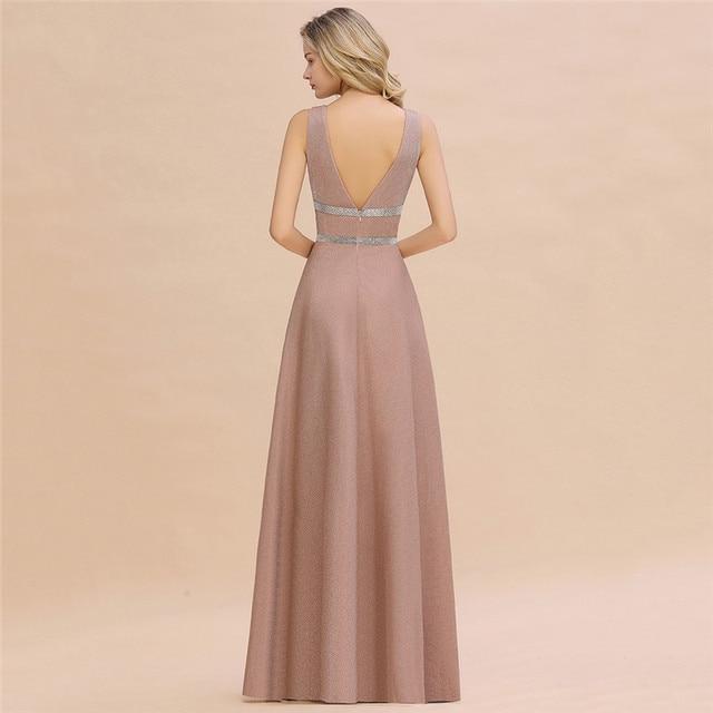 Robe De Soiree Dusty Rose Long Evening Dress 2020 Sexy Deep V-neck Navy Blue Evening Prom Gowns Vestido de Festa 2