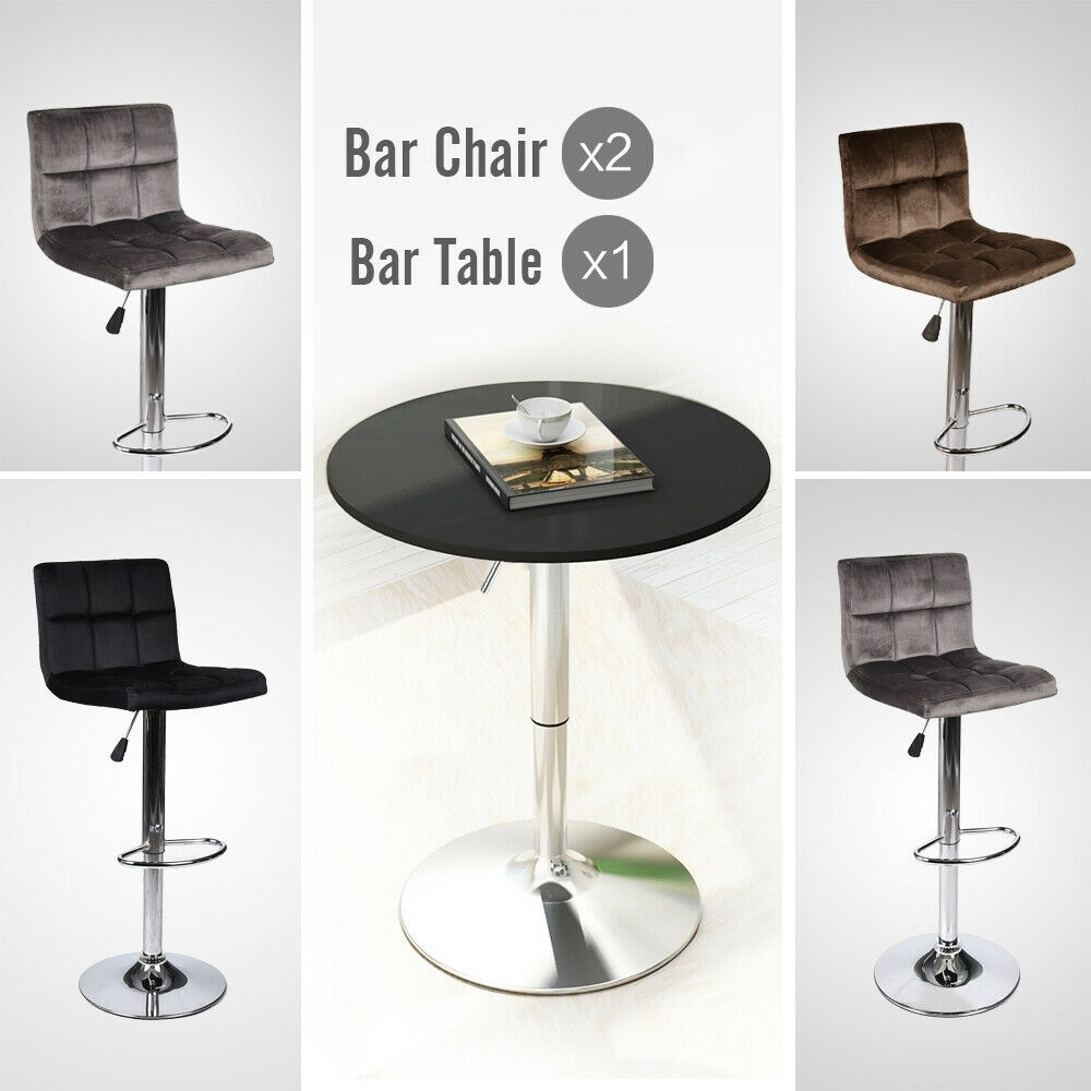 3 Piece Bar Table Stools Adjustable Counter Top Wood Table Dining Desk Velvet Seat