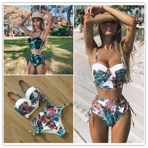 High Waist Swimwear 2020 New Leaf Print Bikinis Women Swimsuit Vintage Retro Bathing Suit Halter Biquini Maillot de bain femme