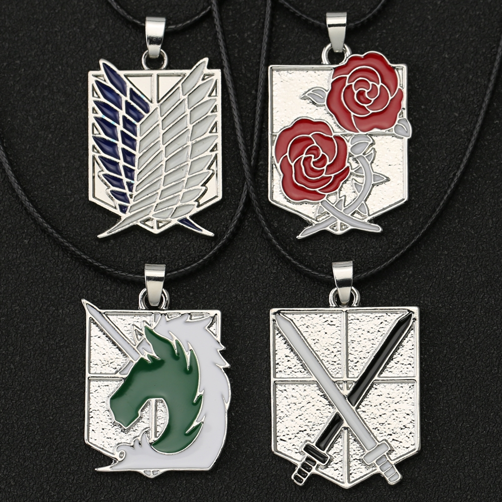 Attack On Titan Necklace Wings Of Freedom Eren Scout Legion Stationary Guard Military Police Trainee Squad Pendant Anime Jewelry