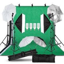 التصوير الفوتوغرافي صور طقم إضاءة الاستوديو 2x3 متر خلفية خلفية حامل سوفت بوكس طقم الإضاءة مصباح مظلة حامل