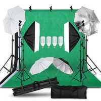 Fotografía luz de estudio fotográfico Kit 2x3M Fondo telón de fondo Stand Kit de iluminación softbox paraguas soporte de luz