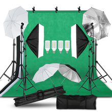 Fotografia photo studio kit de luz 2x3m fundo suporte softbox kit iluminação guarda chuva luz suporte