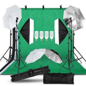 Image 1 - Fotografie Foto Studio Licht Kit 2X3M Achtergrond Achtergrond Stand Softbox Verlichting Kit Paraplu Licht Stand
