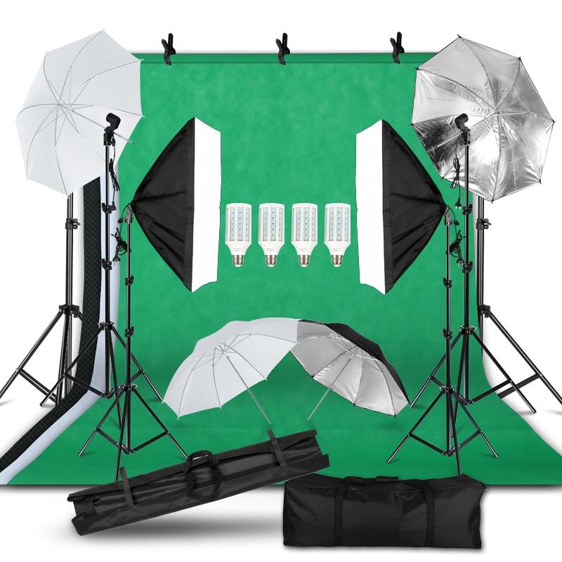 Photography Photo Studio Light Kit 2x3M Background Backdrop Stand Softbox Lighting Kit Umbrella Light Stand