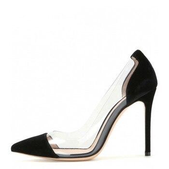 YECHNE Women Transparent High heels Shoes Plus Size 33-43 Party Bruiloft Pumps Deep Black Pink Punch Shoes Sexy Pumps
