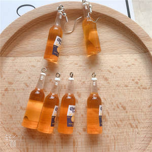 Beer-Bottle Earring-Charms Necklace Pendant Findings Keychain Jewlery Resin 10pcs/Pack