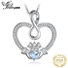 Бесконечность Claddagh сердце Природный Голубой топаз кулон ожерелье 925 драгоценные камни из стерлингового серебра Колье Ожерел