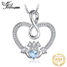 Infinity Claddagh Heart Natural Blue Topaz Pendant Necklace 925 Sterling Silver Gemstones Choker Necklace Women Without Chain