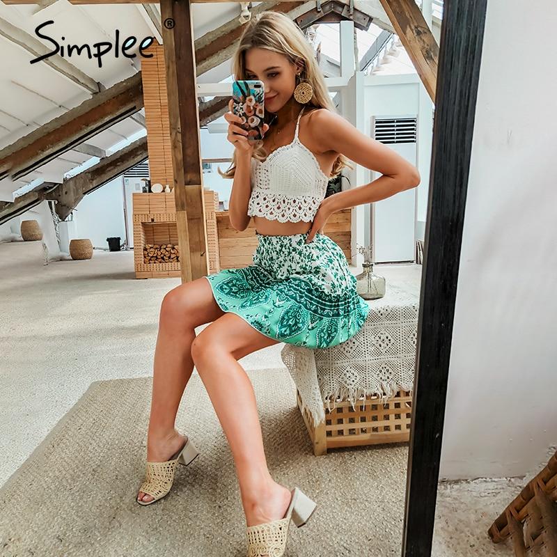 Simplee Bohemian Floral Print Summer Skirt High Waist A-line Ladies Mini Skirt Casual Streetwear Female Short Mini Skirts 2020