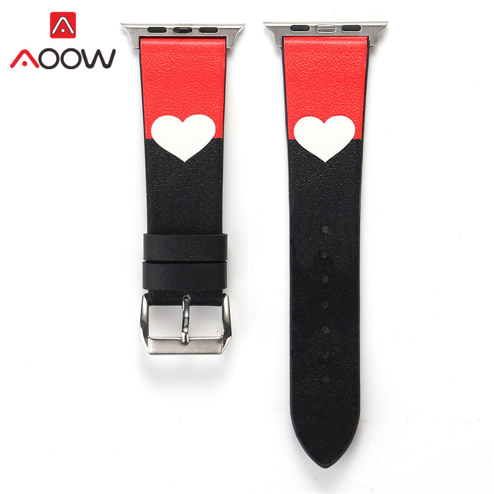 Genuine Leather Watchband For Apple Watch 4 5 38mm 42mm 40mm 44mm Heart Printing Men Women Bracelet Strap Band For Iwatch 1 2 3
