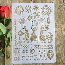 Египетский иероглиф А4 29*21см DIY трафареты стены скрап картины раскраски выбивая альбом декоративные шаблон бумаги карты