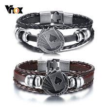 Винтажный Мужской Браслет на удачу vnox очаровательный браслет