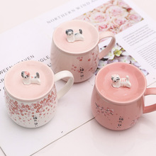 Creative cartoon ceramic cup Cat shape gradient cover mug Ceramic coffee