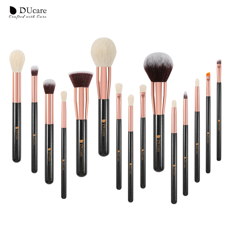 Image 2 - DUcare brushes Pearl White 15PCS Makeup brushes set Professional Beauty Make up brush Natural hair Foundation Powder Blushes-in Eye Shadow Applicator from Beauty & Health
