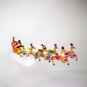 Image 2 - Jogo de aldeia de natal, conjunto de inverno maravilha, papai noel com rena, luz up, decoração de tablet
