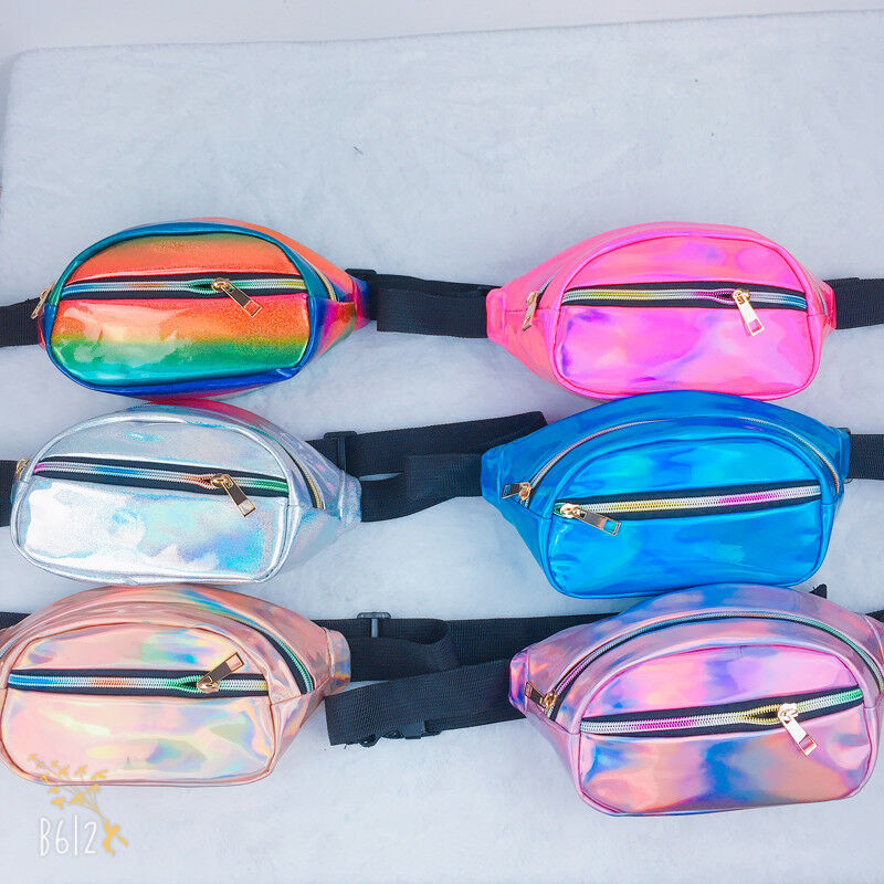 Women Fanny Pack Clear Glitter Waist Belt Bum Bag Pouch Hip Purse Travel Bag Waterproof Zipper Belly Bags