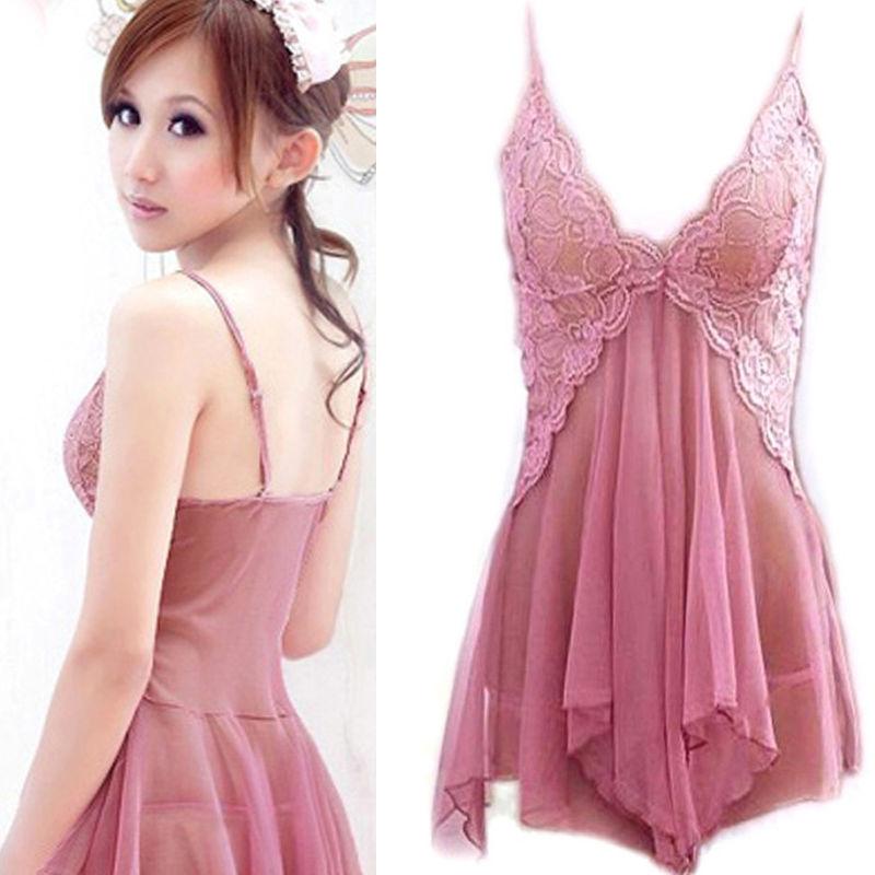 Meihuida Women Sexy Lingerie Lace Dress Pink Underwear Sleepwear G-string Nightwear Dress Women Set Night Dresses One Size