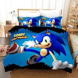 Juego de cama 3D, juego de edredón con diseño impreso en 3D, tamaño King Queen, doble, triangulación de envíos, Boy gife Sonic * 2