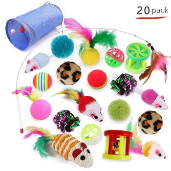 20pcs/set Cat Toys Pet Interactive Chewing Toy Kit for Cats Kitty Cat Tunnel Toy Ball Mice Modeling Toys For Kitten Pet Supplies