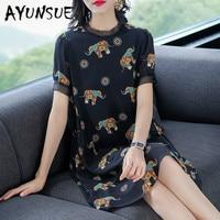 Real Silk Dress Women Summer Dress Korean Office Lady Print Midi Dress Elegant Party Dresses Vestidos Mujer 72501 YY2700