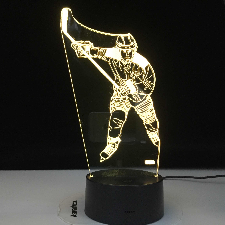 ICE Hockey Theme 3D โคมไฟ LED Light Night 7 เปลี่ยนสีสัมผัสโคมไฟอารมณ์ของขวัญวันเกิดโคมไฟ Home Decor dropshippping