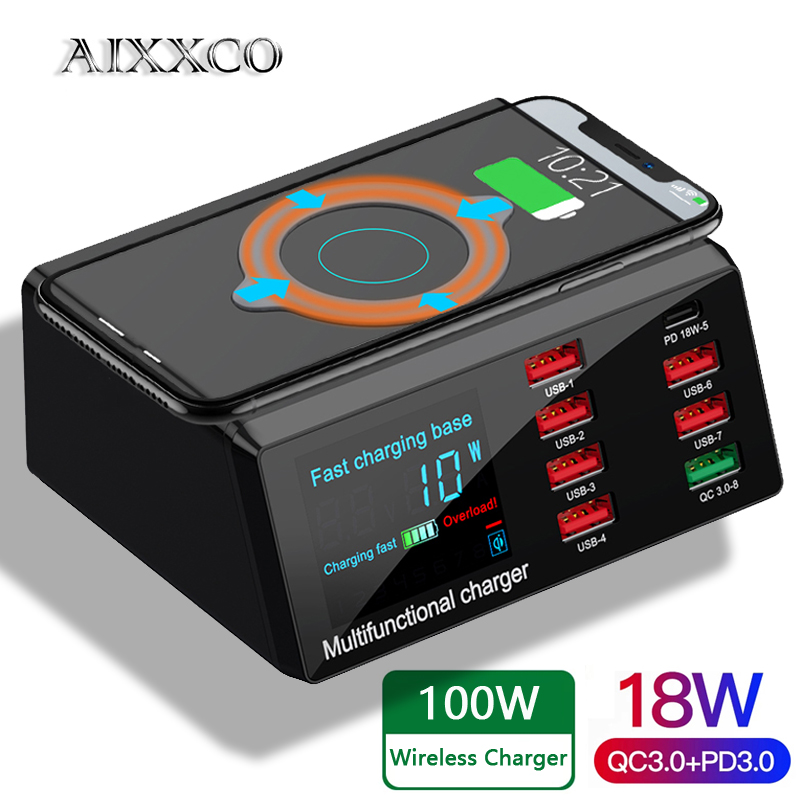 AIXXCO 100W Wireless USB Charger Dock 18W PD QC3.0 Fast Charger Station Smart LED Display 8 Ports USB for Samsung Huawei iPhone