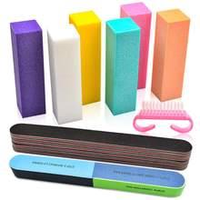 Profissional arquivo de unhas e buffer unhas arquivos lixar bloco para acrílico unha esponja manicure arte acessórios ferramentas kit conjunto casa