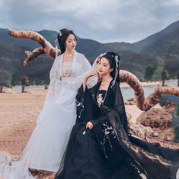 Plus Size 6XL Hanfu Women Chinese Traditional Luxury Hanfu Female Cosplay Costume Black White Hanfu Dress For Women Oversied 2020 hanfu coat chinese crane print hanfu coat traditional ancient han tang dynasty red cloak female cosplay cardigan