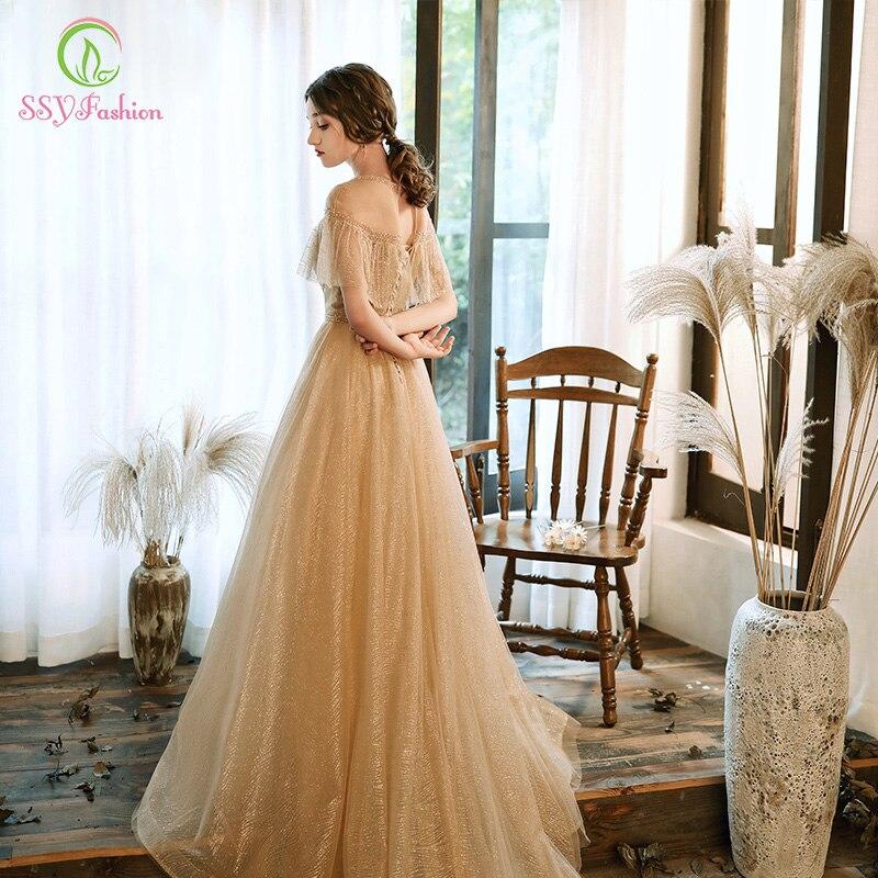 SSYFashion New Luxury Gold Evening Dress Elegant Crystal Tassel Beading Sweep Train Long Prom Formal Gowns Vestido De Festa