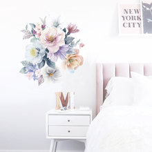 Romantic flowers Wall Sticker home wall decoration living room bedroom decor Literary water color wallpaper Removable stickers