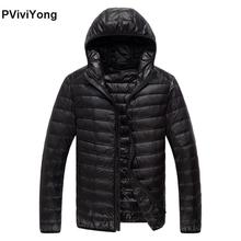 PViviYong 2019 Winter new high quality thin down jacket men's coat hooded White duck down jacket plus-size parkas 779