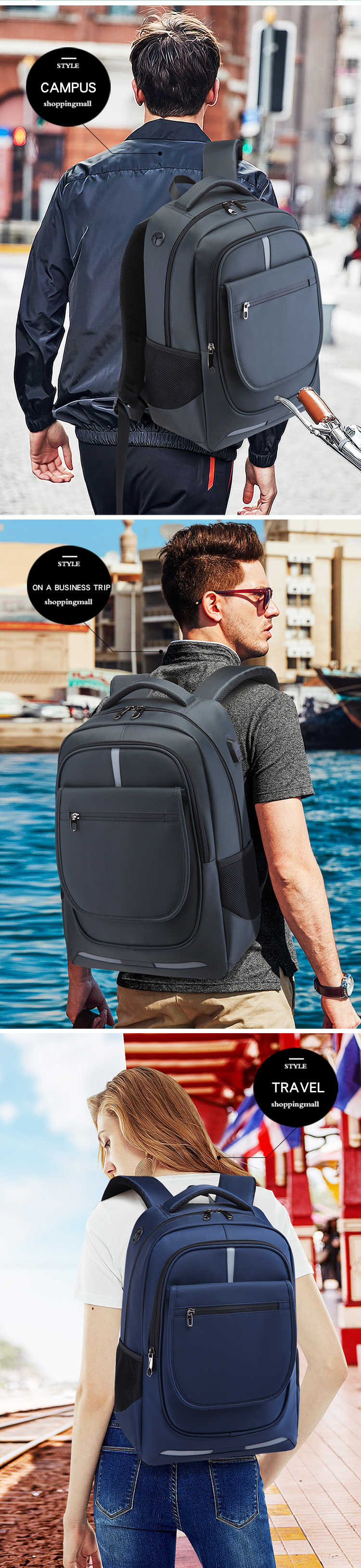 sacos de carregamento anti-roubo moda masculina mochila viagem bolsa hombre plecak