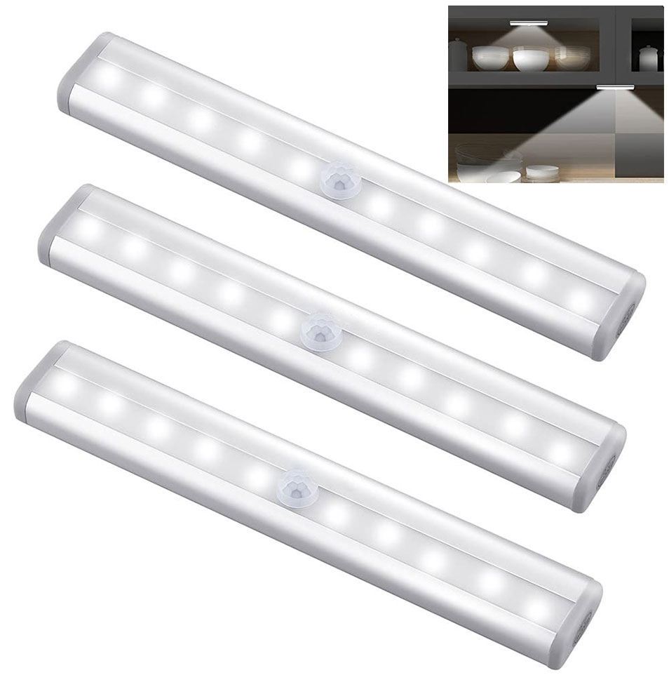 Pir sensor de movimento conduziu a luz do armário 6 /10 leds sensor automático guarda-roupa armário luzes da gaveta luz da noite lâmpada para interior
